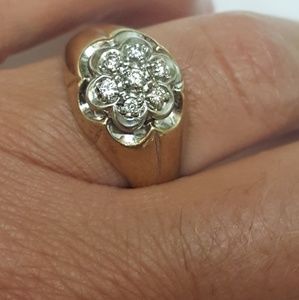 Other - Men's 14k yellow gold .50ct diamonds cluster ring